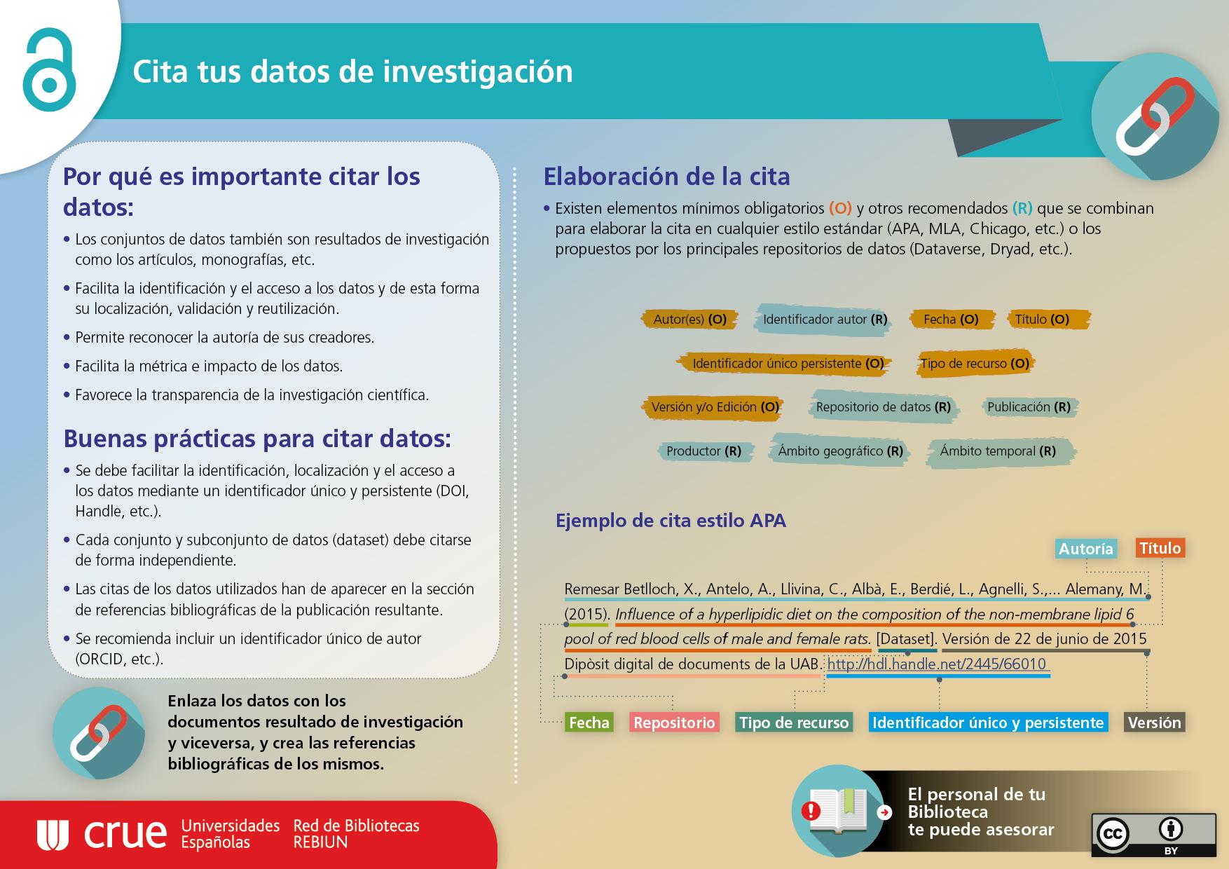 Infografía elaborada por REBIUN sobre cómo citar tus datos de investigación